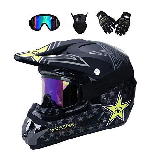 YUCARAC MTB Full Face Helm mit Schutzbrille Handschuhe Maske Motocross-Helm, Motorrad Motorradhelm Set Motorrad Off Road Schutzhelm ATV Helm Sicherheit Schutz, Schwarz/Rockstar,L