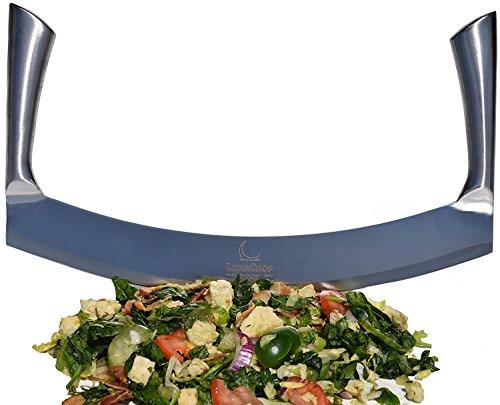 Mezzaluna Knife (Pizza Cutter) Vegetable Chopper for Chopped Salad, Industrial Pizza Rocker Knife (14 Inch Blade)