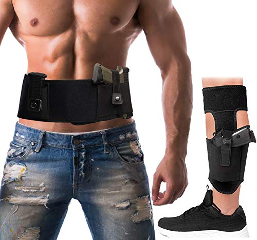 Belly Band Holster+Ankle Holster for Concealed Carry, Neoprene Concealed Carry Tactical Belt for Men Women Fits Glock, Ruger, M&P Shield, Sig Sauer, Kahr, Beretta, 1911, etc (Black, Universal)