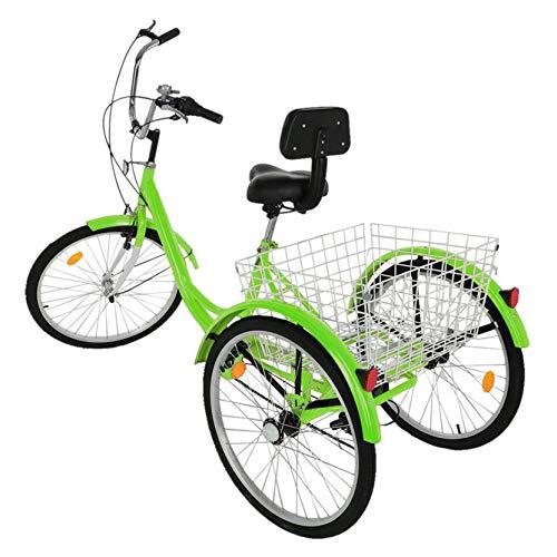 Fewear Adult Tricycle with Backrest 1/7 Speed Three Wheel Cruiser Bike 24 inch Wheels, Cargo Basket for Seniors, Women, Men, from US (Green)