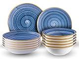 Sevenler Geschirr-Set 24-teilig I Essgeschirr handbemalt in Blau I Tafelservice für 6 Personen I Moderner Kombiservice aus Premium Bone Porzellan I spülmaschinenfest und mikrowellenfest