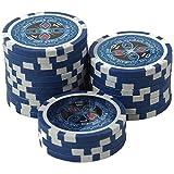 suplaya 50 Pokerchips 13g Clay (Ton) Laser Metallkern Ultimate hochwertige Markenware einzigartig (blau - Wert 10)