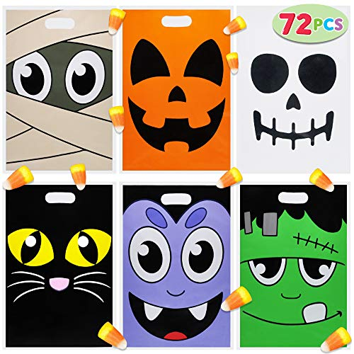 Pack of 72 Halloween Goodie Bags for Trick-or-Treating, Halloween Party Favors, Halloween Snacks