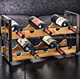 Zpong Weinregal aus Bambusholz 50 * 20 * 29 cm, fünf Flaschen Doppeldecker Kreative Dekoration Dekoration Weinflaschenregal