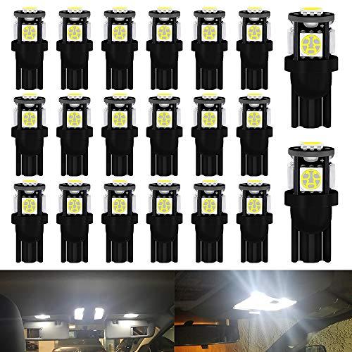 DEFVNSY - Pack de 20 - Blanc 194 T10 168 2825 W5W Ampoule LED de Remplacement intérieur de Voiture - 5ème génération 5050 5SMD Source d'éclairage pour Lampe de Plaque d'immatriculation 12V