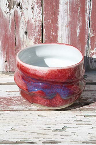 Porcelain Red to Gold Bowl #03, Wheel Thrown Bowl, Individual Salad Bowl, Cereal and Ice Cream Bowl
