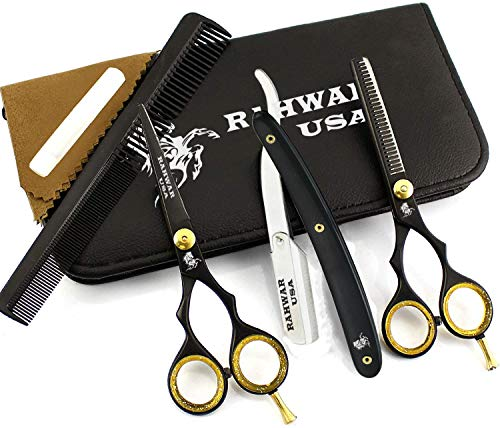 """RAHWAR Professional Hair Cutting Shears, 5.5"""" 440C Stainless Steel Barber Scissor Set For Hairdressing, Thining Shears For Home/Barber/Salon With Comb and Kit Bag (Black)"""