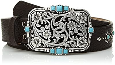 Nocona Belt Co. Women's Stud Center Turquoise Cutout Buckle Belt, brown, Large