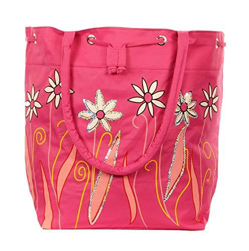 Jay-Fashionbox Damen Blumen Strandtasche Groß Sommertasche Beuteltasche XXL Shopper mit Blumenmuster Tasche mit Glitzer Pailletten Badetasche Schultertasche für Strand Pool Schwimmbad Shopping