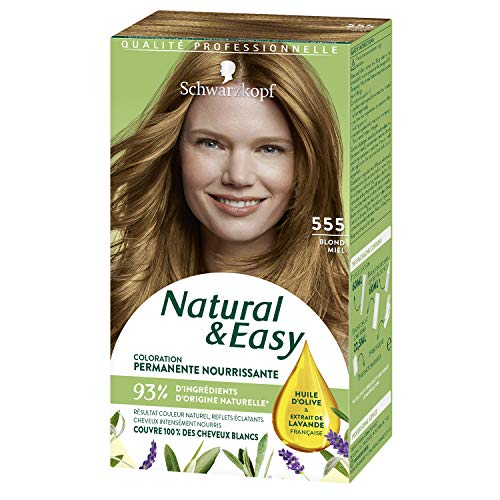 Schwarzkopf - Natural & Easy - Coloration Permanente Naturelle Cheveux - Huile d'olive et Extrait de Lavande - 93 % d'ingrédients d'origine naturelle - Blond Miel 555