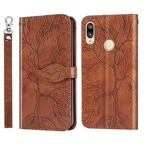 i-Case Funda para Huawei P20 Lite Flip Cover Árbol de Relieve en Relieve Leaves Design Carcasa Libro de Cuero Ranuras de Tarjeta,Soporte Plegable,Cierre Magnético Case para Huawei P20 Lite,Marrón