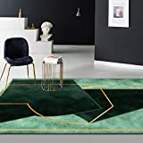DPJS Tapis Tapis Moderne Minimaliste Broyage Blanc Vert Foncé Vert Irrégulier Géométrique Salon Chambre Cuisine Chevet Paillasson,80x160cm