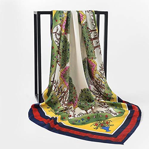 Vcnhln Festa della Mamma Primavera ed Estate Imitazione Raso di Seta Grande Sciarpa Quadrata Sciarpa Scialle Sciarpa di Seta da Donna a Doppio uso90x90cm
