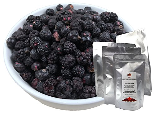 TALI Schwarze Beeren Mix 300 g - Gefriergetrocknete Brombeeren, Heidelbeeren, Schwarze Johannisbeeren