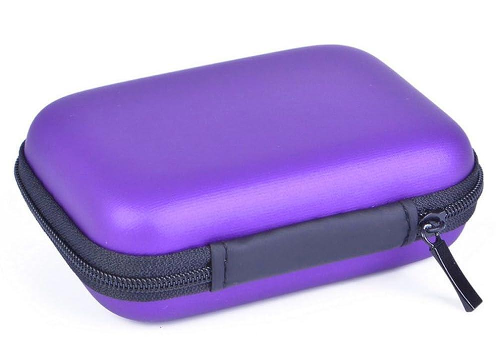 PU Leather Zipper Hard Travel Case Storage Bag for Earphone Headphone Headset Data Cable Purple