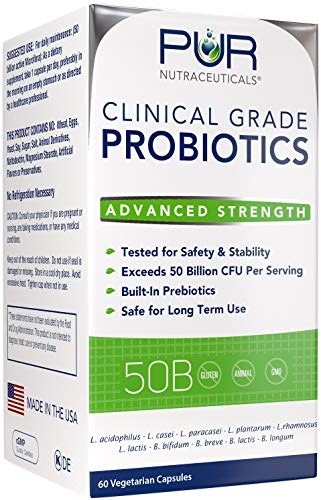 Clinical Grade Probiotics * 50 Billion CFUs/Serving * 10 Strains * Built-in Prebiotic * 60 Daily Capsules - 2 Month Supply * All Natural 100% Made in USA