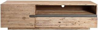 Casa Padrino Armario de televisión de diseño con Puerta y cajón NaturalGris Teca 170 x 42 x H. 46 cm - Aparador - ¡Hecho ...