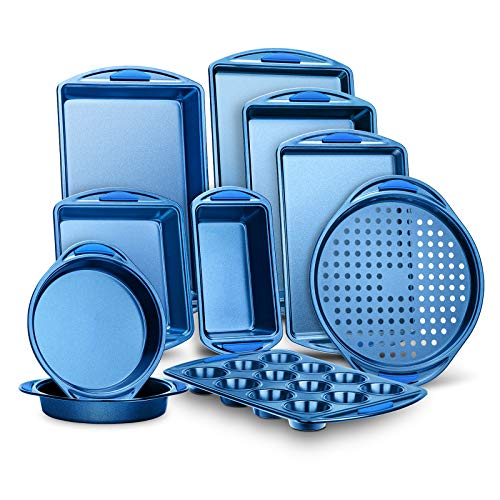 10-Piece Kitchen Oven Baking Pans - Deluxe Carbon Steel Bakeware Set with Stylish Non-stick Blue Coating Inside and Out, With Blue Silicone Handles Dishwasher Safe & PFOA, PFOS, PTFE Free (NCBK10S)