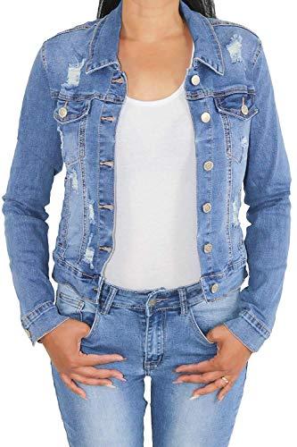 Sotala Damen Kurze Jeansjacke Damenjacke Denim Stretch Jeans Jacket Übergangsjacke Übergröße Blau
