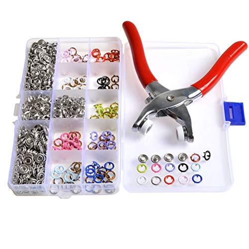 in Opbergdoos 150 Sets 10 Kleuren 9.5mm Metalen Prong Ring Snap Fasteners Drukknopen met Bevestiging Snap Pliers Voor bandana slabbetjes, baby groeit, sleutelhangers, Dummy Clips