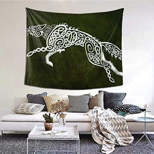 AMIURY Celtic wolf Embroidery Design Tapestries Wall Hanging Art Home Decor Decoration Tapestry for Bedroom Living Room,Sizs: 60*51 inch