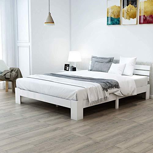 ModernLuxe Doppelbett Massivholzbett 140 x 200 cm Holzbett Kiefer Balkenbett Bettgestell mit Kopfteil und Lattenrost, als Seniorenbett geeignet, Komfortbett mit Rückenlehne Bett Weiß