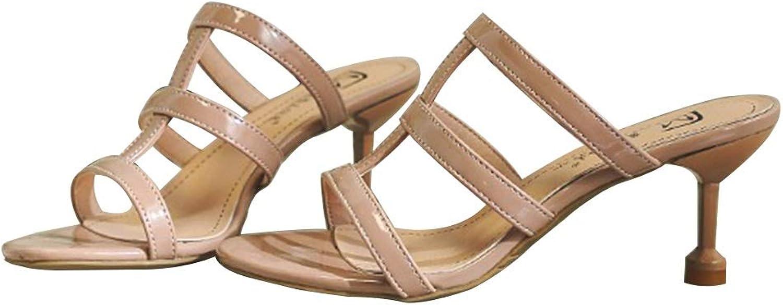WANGFANG Sandals Women's High-Heeled Slippers, Summer Sexy Openwork High Heels Kitten Heel Slippers, Three colors (color   Pink, Size   US4 EU35 UK2 MX1.5 CN35)