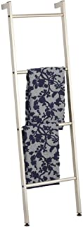 mDesign Metal Free Standing Leaning Decorative Bath Towel Bar Storage Ladder - Holds Towels, Blankets, Throw Blankets, Quilts - 4 Levels - Satin