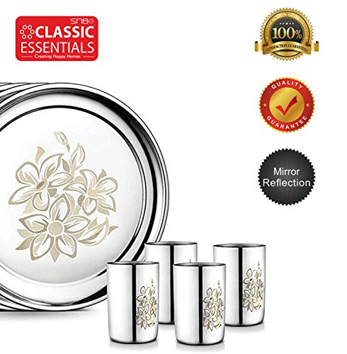 Stainless Steel Glory Premium Dinner Set 61 Piece with Lazer Design