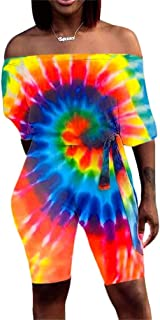 Molisry Womens Sexy Off Shoulder Tie Dye Print Short Sleeve Bodycon Short Pants Sets Jumpsuit Rompers Belted