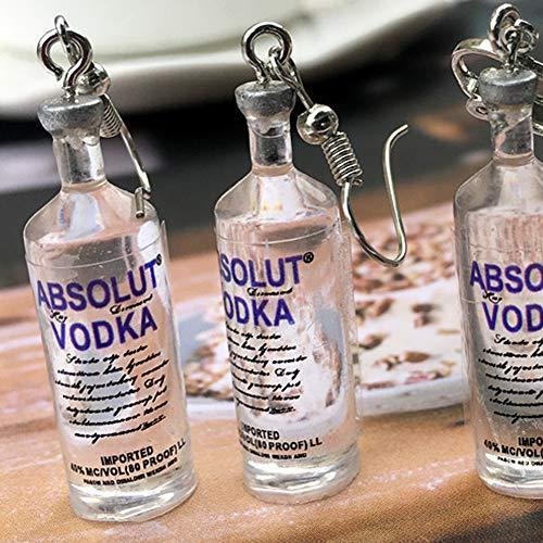 1 Paar handgemachte kühle Flasche Wodka-Tropfen-Ohrringe Interessante Getränkeflaschen baumeln Ohr-Haken - 2
