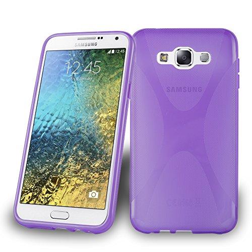 Cadorabo Hülle kompatibel mit Samsung Galaxy E7 Hülle in Flieder VIOLETT Handyhülle aus flexiblem TPU Silikon im X-Line Silikon Schutzhülle