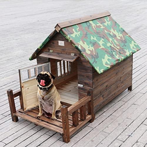 Casetas para perros Cerca De La Casa De Mascotas Al Aire Libre A Prueba De Lluvia Casa De Perro De Madera Maciza Pequeña Y Mediana Casa De Perro Grande Impermeable Casa De Perro