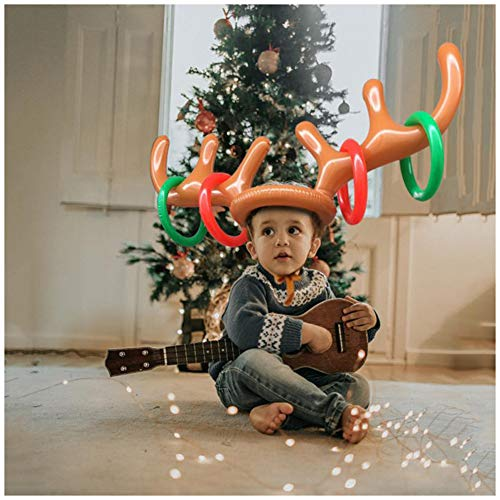 XIJING 3 Pack Inflatable Reindeer Antler Hat Ring Toss Game - Christmas Hat for Family Kids Xmas Party Toys (3 Antlers and 12 Rings)