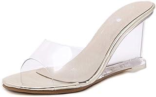 LQHYA Women Slipper High Heels Wild Women'S Shoes Word Buckle Simple Wedge Sandals Transparent