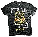 Karate Kid Strike First, Strike Hard, No Mercy Hombre Camiseta Negro L, 100% algodón, Regular