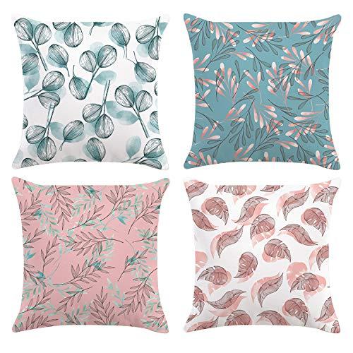 Bonhause 4er Set Kissenbezüge 45 x 45 cm Blaugrün und Rosa Blätter Samt Soft Dekorative Kissenhülle Zierkissenbezüge für Sofa Schlafzimmer Wohnzimmer Auto Zuhause Dekoration