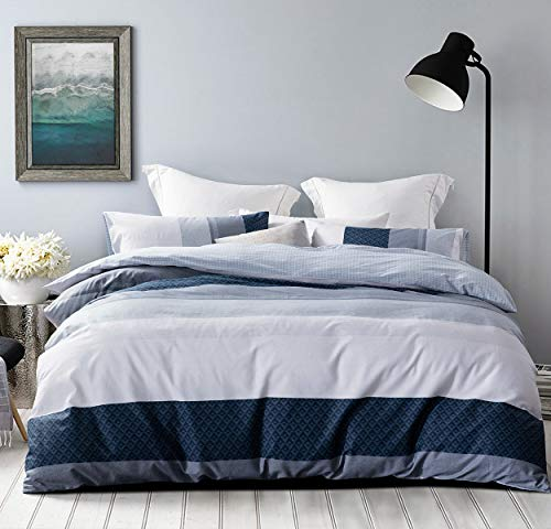 SLEEPBELLA Duvet Cover Set, 600 Thread Count Cotton White and Navy Striped Patchwork Comforter Cover Set Reversible Quilt Cover (King, Greekn-Lump)