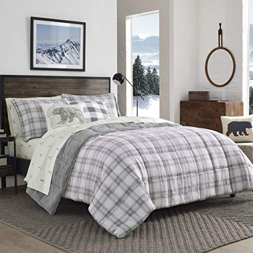 Eddie Bauer Sherwood Sherpa Comforter Set, Full/Queen, Grey Plaid,USHSA51122320,2