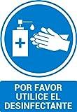 Señal Gel hidroalcoholico por favor utilice el desinfectante - material PVC rígido -cartel gel desinfectante - Medida A4 - Cartel gel