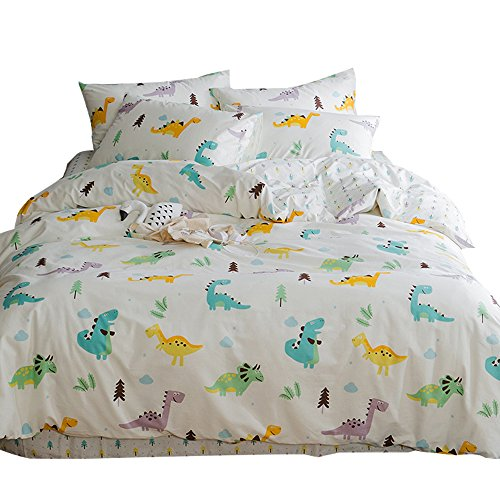 New Cartoon Dinosaur Blue Queen Duvet Cover Sets for Kids Teen 100% Cotton Reversible Comfortable 3 Pieces Boys Bedding Duvet Cover Pillowcases Girls Bedding Sets Full Size, Dinosaur Park,NO Comforter