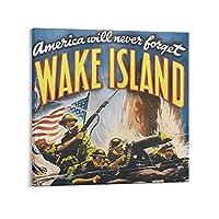 クラシック映画のポスター Wake Island 壁飾り キャンバス 印刷 ポスター バスルーム 寝室装飾 絵画 油彩画 ウォールアート 素晴らしいギフト24x24inch(60x60cm)
