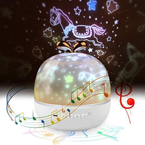 LED Sternenhimmel Projektor Lampe, mixigoo Kinder LED Musik Nachtlicht mit 6 Projektionsfilmen 360 ° Drehbar Aufladbar Baby Sterne Lampe Stimmungslicht für Geburtstag Party Zimmer Weihnachten Hochzeit