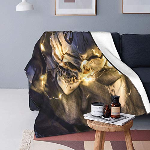 Ultra-Soft Micro Fleece Blanket,Helloween Skull In The Dark With A Garland,Home Decor Warm Throw Blanket for Couch Bed,80'X 60'