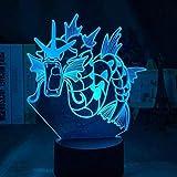Pokémon 3D veilleuse LED lampe de décoration de chambre, 7 types de changement de couleur tactile + télécommande, utilisé pour la décoration de chambre cadeaux pour enfants