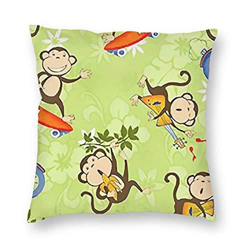 GOSMAO Federe per Cuscini Scimmia del Fumetto Divano Cotone Biancheria Gettare Decorativo Caso Federa Cuscino Divano Auto Home Decor 45 x 45 cm