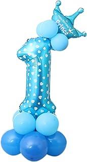 Lumierechat 誕生日 バルーン 風船 セット 装飾 飾り パーティー 1歳 2歳 3歳 男の子 女の子 ブルー ピンク a-b4098(ブルー/1歳)