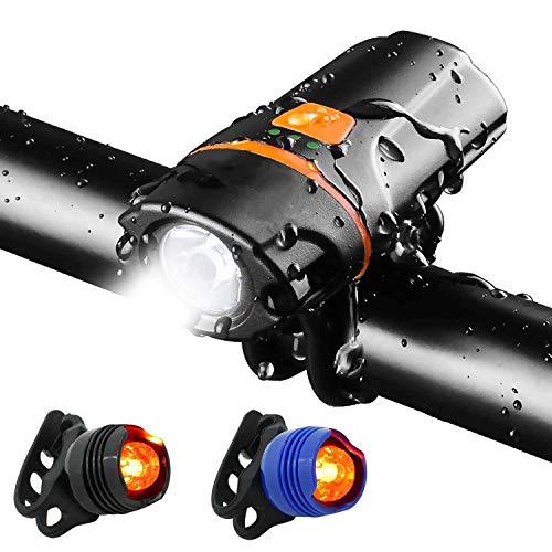WASAGA Luz para Bicicleta, USB Recargable, 1200 lúmenes, Super Brillante, luz Delantera, Linterna, IP65 a Prueba de Agua, 6 Modos, Ciclo, luz, Linterna, antorcha