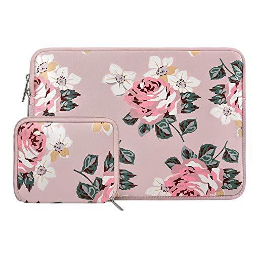 MOSISO Wasserabweisend Neopren Hülle Sleeve Tasche Kompatibel mit 13-13,3 Zoll MacBook Pro, MacBook Air, Notebook Computer Laptophülle Laptoptasche Notebooktasche mit Kleinen Fall, Rose Rosa