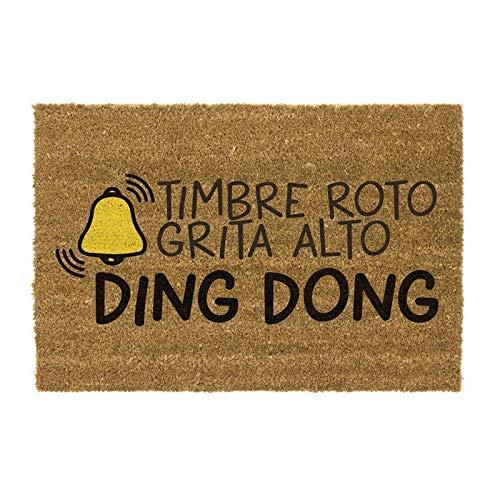 CIAL LAMA Felpudo Ding Dong, Alfombra Exterior para la Entrada de Casa 40x70cm, Fibra de Coco y Base PVC Antideslizante